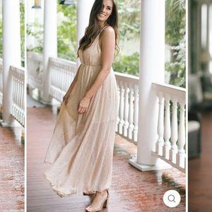 NWT Aakaa Blush Leaf Print Maxi Dress Women's  L